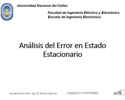 Análisis del error en estado estacionario